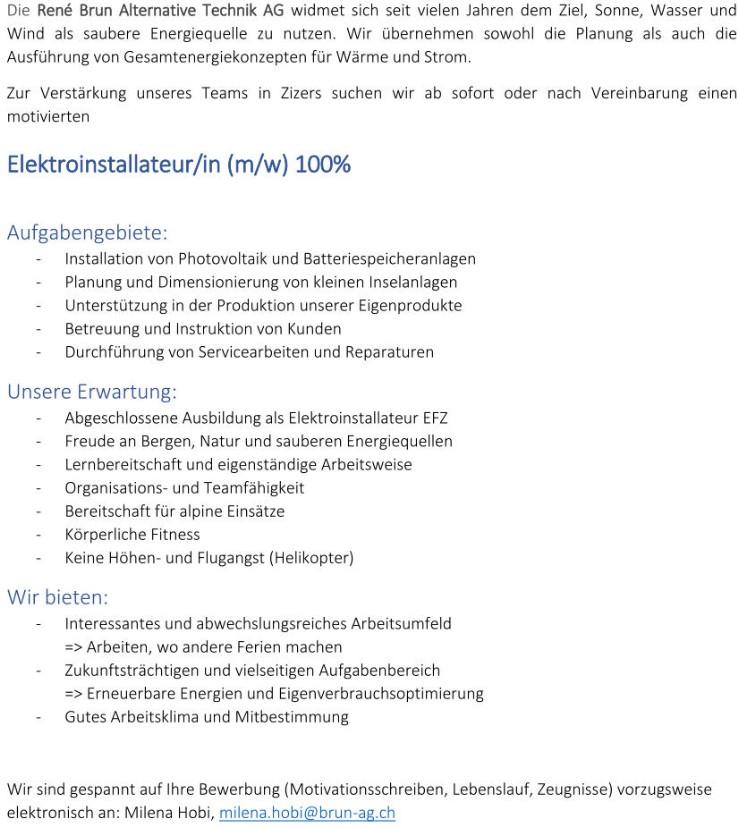 Stelleninserat - www.brun-ag.ch